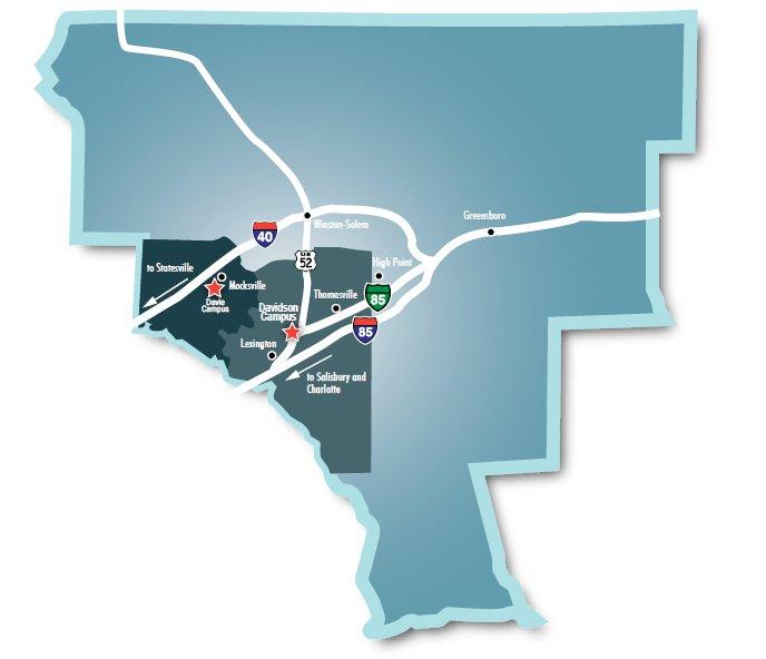 Map showing Davidson & Davie campuses