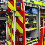 Fire Engine with all equipment bays opened
