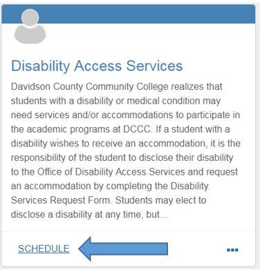 Disability Access Services_Schedule Button