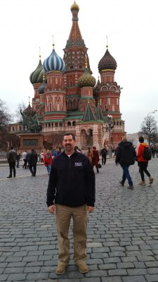 Tim Gwillim stands in front St. Basil's Cathedral in Moscow.