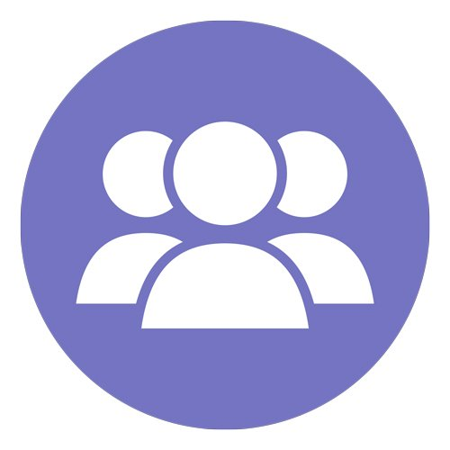 Purple icon with three animated persons