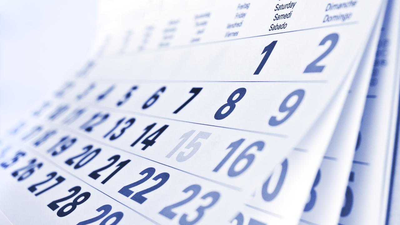 Calendar with blue numerical dates
