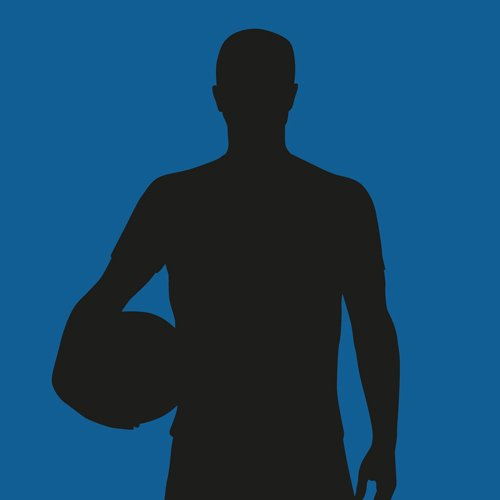 Silhouette of a man holding a basketball on a blue background