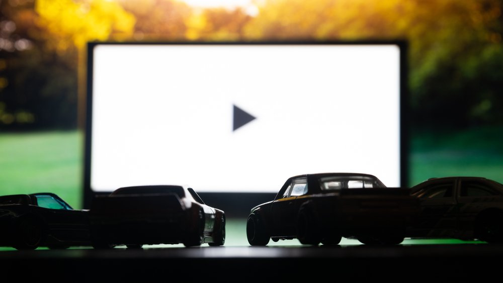 Drive-In Movie screen at Night