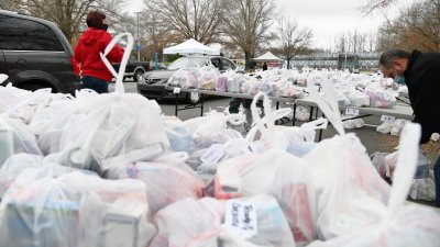 Plastic bags of medicine organized to be given away