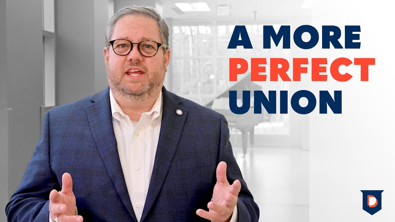 "Davidson-Davie President, Darrin Hartness. Text reads: ""A More Perfect Union"""