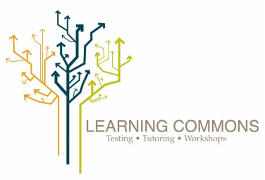 """Learning Commons Icon. Text reads: """"Learning Commons Testing, Tutoring, Workshops"""""""