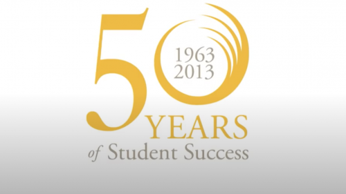 "50th Anniversary Logo. Text Reads: ""1963-2013 50 Years of Student Success"""