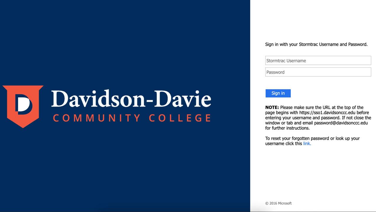 Davidson-Davie StormTrac login screen