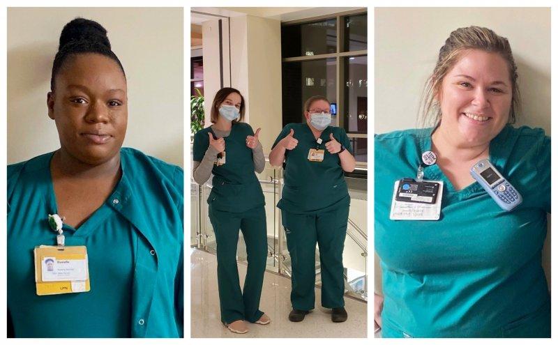 Nursing Students in Green Scrubs smiling