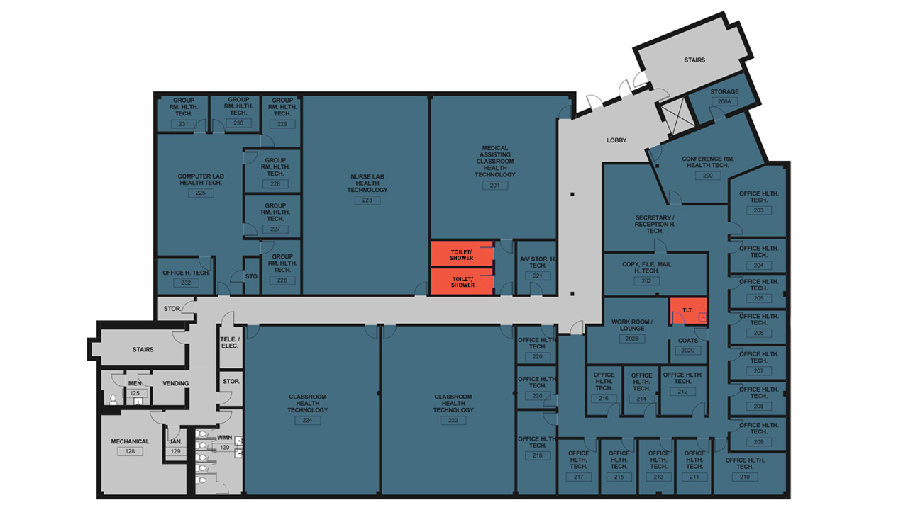 Diagram showing unisex restrooms in briggs building