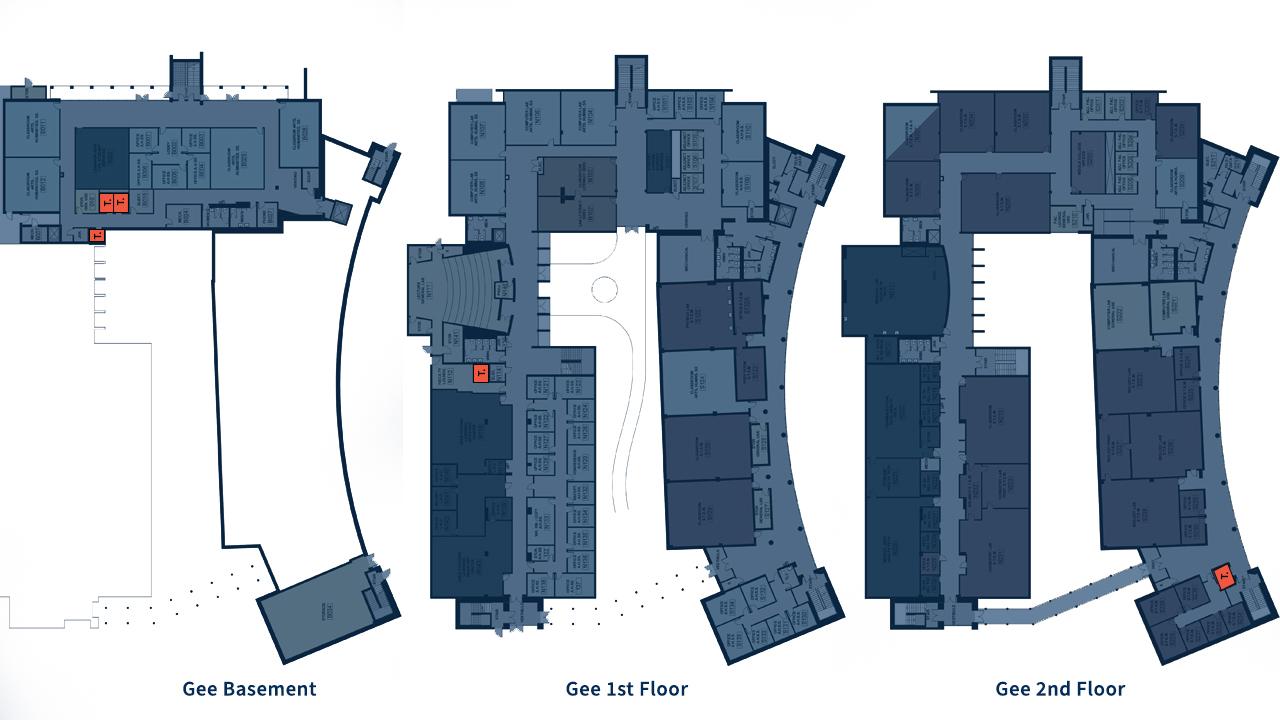 Diagram that show unisex restrooms in Sinclair building