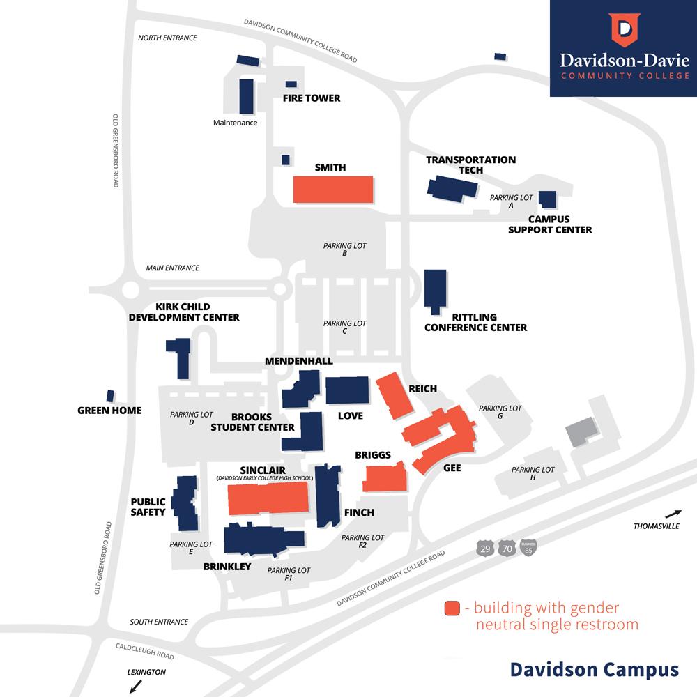 Diagram of Davidson-Davie Davidson Campus Gender Neutral bathroom locations