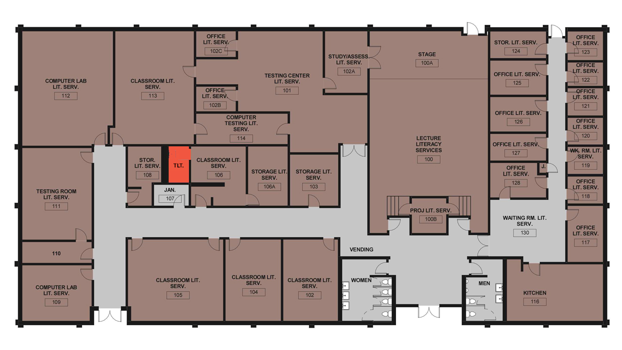 Diagram that show unisex restrooms in Reich building