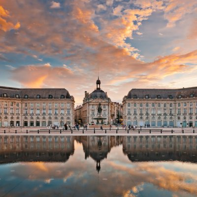 Large Building with reflection in water in Bordeaux, FranceBordeaux