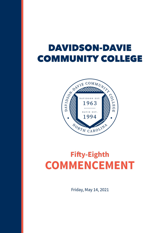 """2021 Commencement Program Cover. Text reads: """"Davidson-Davie Community College Fifty-Eighth Commencement"""""""