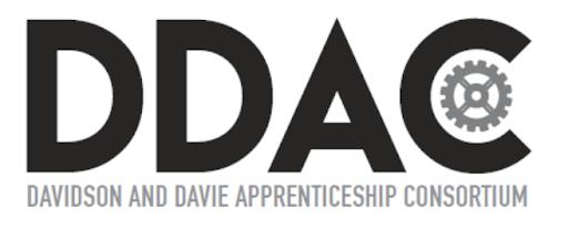 """Text reads: """"DDAC Davidson and Davie Apprenticeship Consortium"""""""