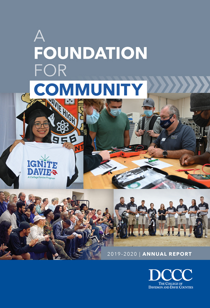 """2019-2020 Davidson-Davie Annual Report Cover. Text reads: """"A Foundation For Community"""""""