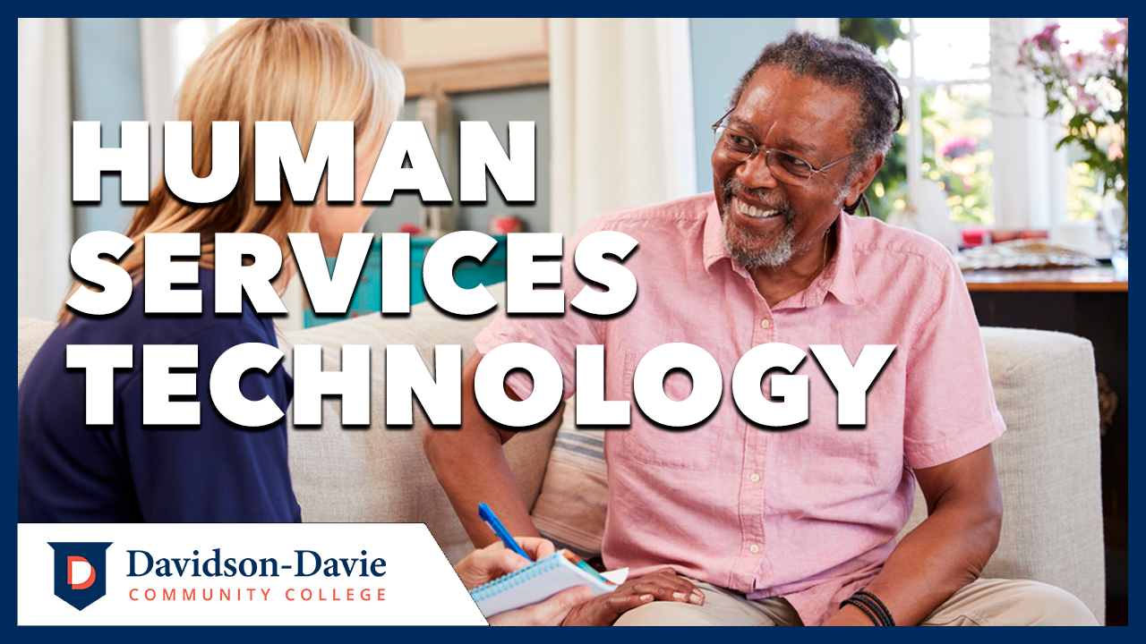 """Human services worker meets with elderly individual. Text reads: """"Human Services Technology"""""""